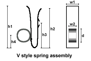 V                           type spring with diemnsions drwing
